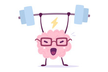 Vector Illustration Of Pink Color Smile Brain With Glasses Lifts Weights On White Background. Very Strong Cartoon Brain Concept.