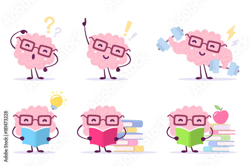 Deurstickers Enjoyable education brain cartoon concept. Vector set of illustration of pink color happy brain with glasses on white background with pile of books, light bulb, dumbbells.