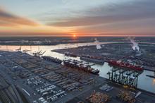 MSC Terminal At Deurganckdock Antwerp Port At Sunrise