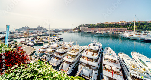Wall Murals Port Panoramic view of port in Monaco, luxury yachts in a row