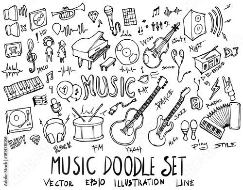 Set of Music illustration Hand drawn doodle Sketch line vector eps10
