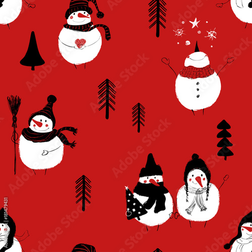 Cotton fabric Christmas Seamless Pattern Of Snowmans.
