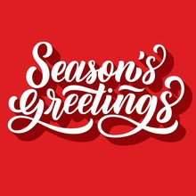 Season's Greetings Brush Hand Lettering, With 3d Shadow On Retro Red Background. Vector Type Illustration. Can Be Used For Holidays Festive Design.