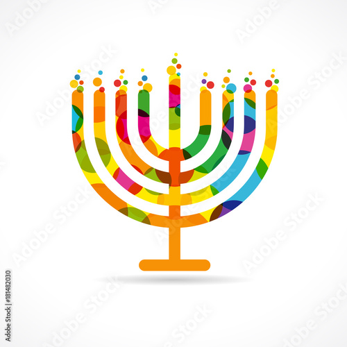Hanukkah menorah emblem colored Canvas Print