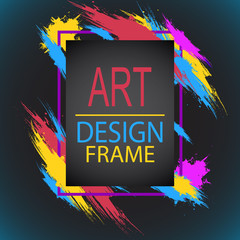 Vector frame for text Modern Art graphics for hipsters. frame stylish abstract brush stroke and gradient black background. element for design photo, cover, invitations, gift cards and flyers