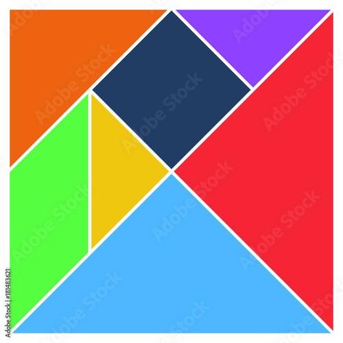 Fotografía  Tangram square brain game base pieces flat UI colors vector illustraition
