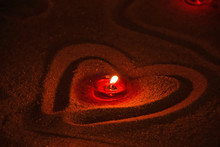 Red Candle Burning In Heart Sh...