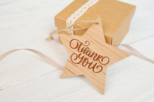 Text Thank You On Wooden Star ...