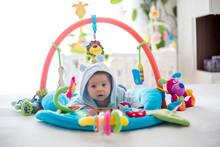 Cute Baby Boy On Colorful Gym,...