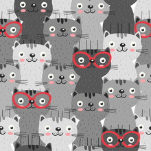 Seamless Pattern With Gray Cat...