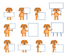 Set Of Funny Yellow Dog Characters Posing With Different Blank Signboards. Cheerful Dog Holding Paper, Placard, Banner, Pointing To Whiteboard. Flat Style Vector Illustration