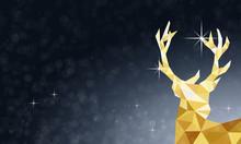 Weihnachten Hirschkopf - Blau Gold