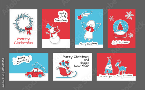 collection of 7 cute merry christmas and happy new year cards set of printable hand