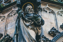 Czech Republic, Brno City, Gothic Sculpture On The Cathedral Facade. Old Statue, Medieval Church Exterior.