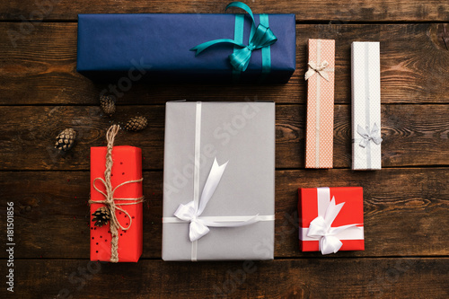 gift order composition holidays wooden background concept Tablou Canvas