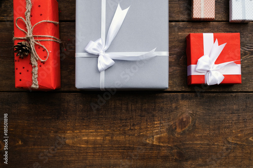 gift order composition holidays wooden background concept Fototapet