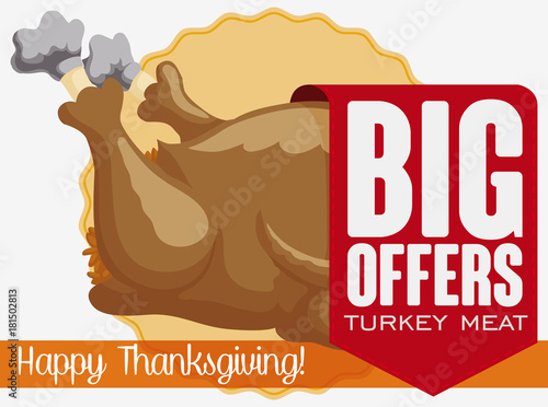 Fényképezés  Ribbon with Special Discounts in Turkey Meat for Thanksgiving Dinner, Vector Ill