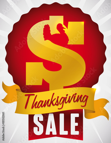 Fényképezés  Money Symbol with Turkey Silhouette and Ribbon for Thanksgiving Sales, Vector Il