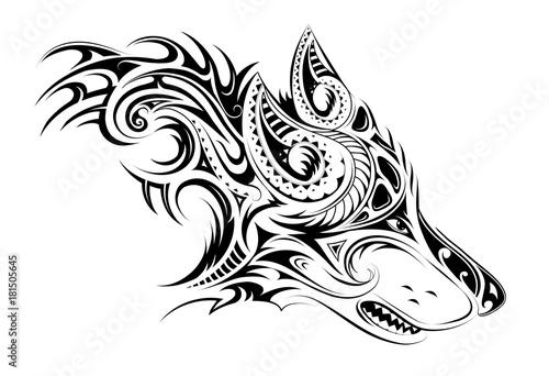 Elegant tattoo of the wolf