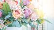 Leinwanddruck Bild - plastic flowers bouquet