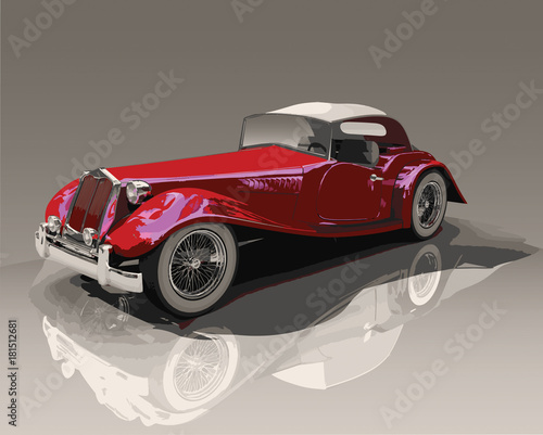 Detailed vector illustration of a red convertible vintage car, on a reflective surface. #181512681