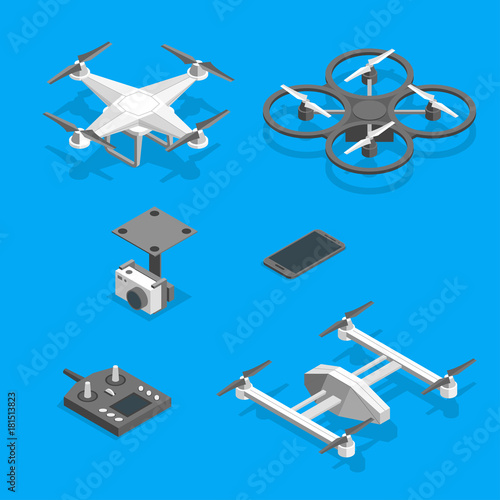 Drones and Equipment Technology Control Set Isometric View. Vector Wall mural