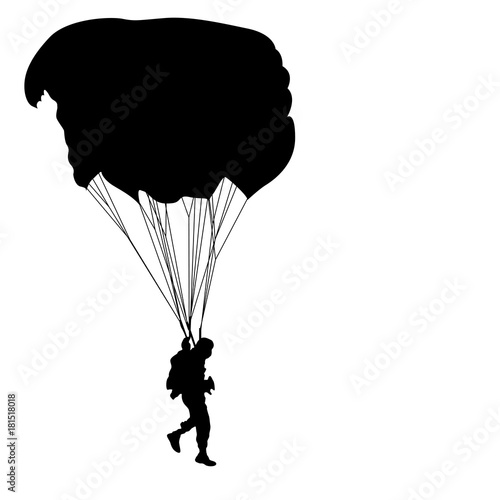 Skydiver, silhouettes parachuting on a white background Canvas-taulu