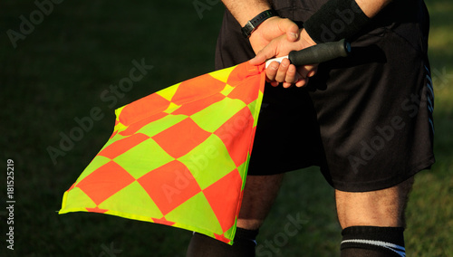 Fotografering Soccer assistant referee on the field holding the flag.