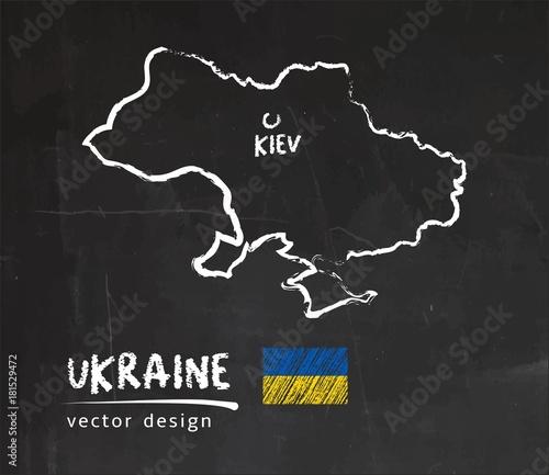 Obraz na płótnie Ukraine map, vector drawing on blackboard