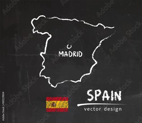 Obraz na płótnie Map of Spain, Chalk sketch vector illustration