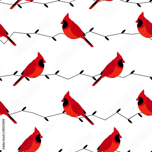 czerwone-ptaki-siedzace-na-galezi-jeden-obok-drugiego