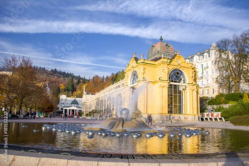 Main colonnade and Singing fountain in Marianske Lazne (Marienbad) - great famou Poster Mural XXL