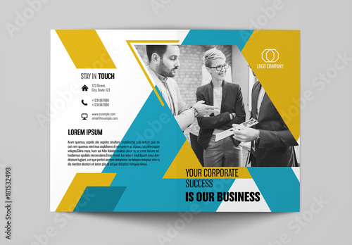 Bifold Brochure Layout With Teal And Yellow Elements Buy This Stock