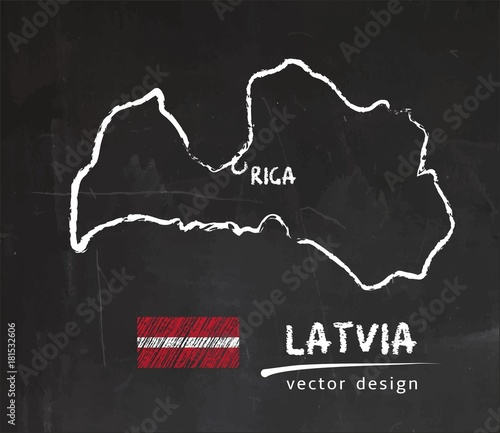 Obraz na płótnie Latvia map, vector drawing on blackboard