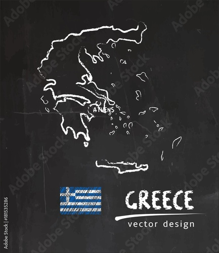 Obraz na płótnie Greece map, vector drawing on blackboard