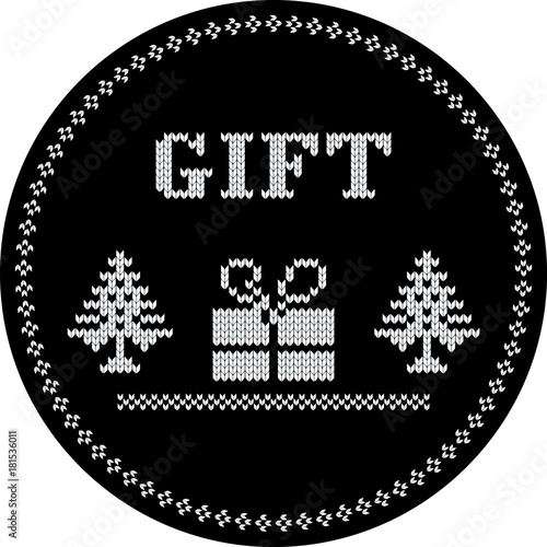 Fototapety, obrazy: christmas gift knitted coupon