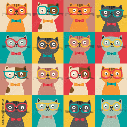 Poster Uilen cartoon seamless pattern with colorful cats in squares - vector illustration, eps