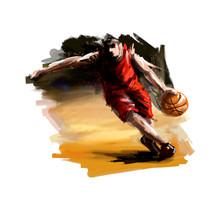 Digital Painting Of A Basketba...