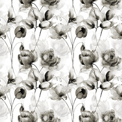 Naklejka Seamless wallpaper with spring flowers