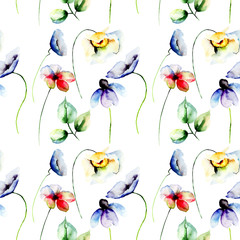 Fototapeta Kwiaty Seamless pattern with colorful flowers