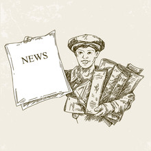 Newsboy Holds Up A Newspaper With The News. Engraving Style. Vintage. Vector Illustration.
