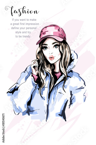 b3bddb1c83 Hand drawn beautiful young woman portrait. Fashion woman in cap. Stylish  cute girl with long hair. Fashion model in winter clothes. Sketch.