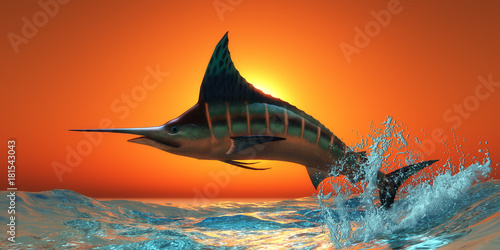 Photo Atlantic Blue Marlin - An Atlantic Blue Marlin jumps out of the blue ocean in a spectacular leap at sunset