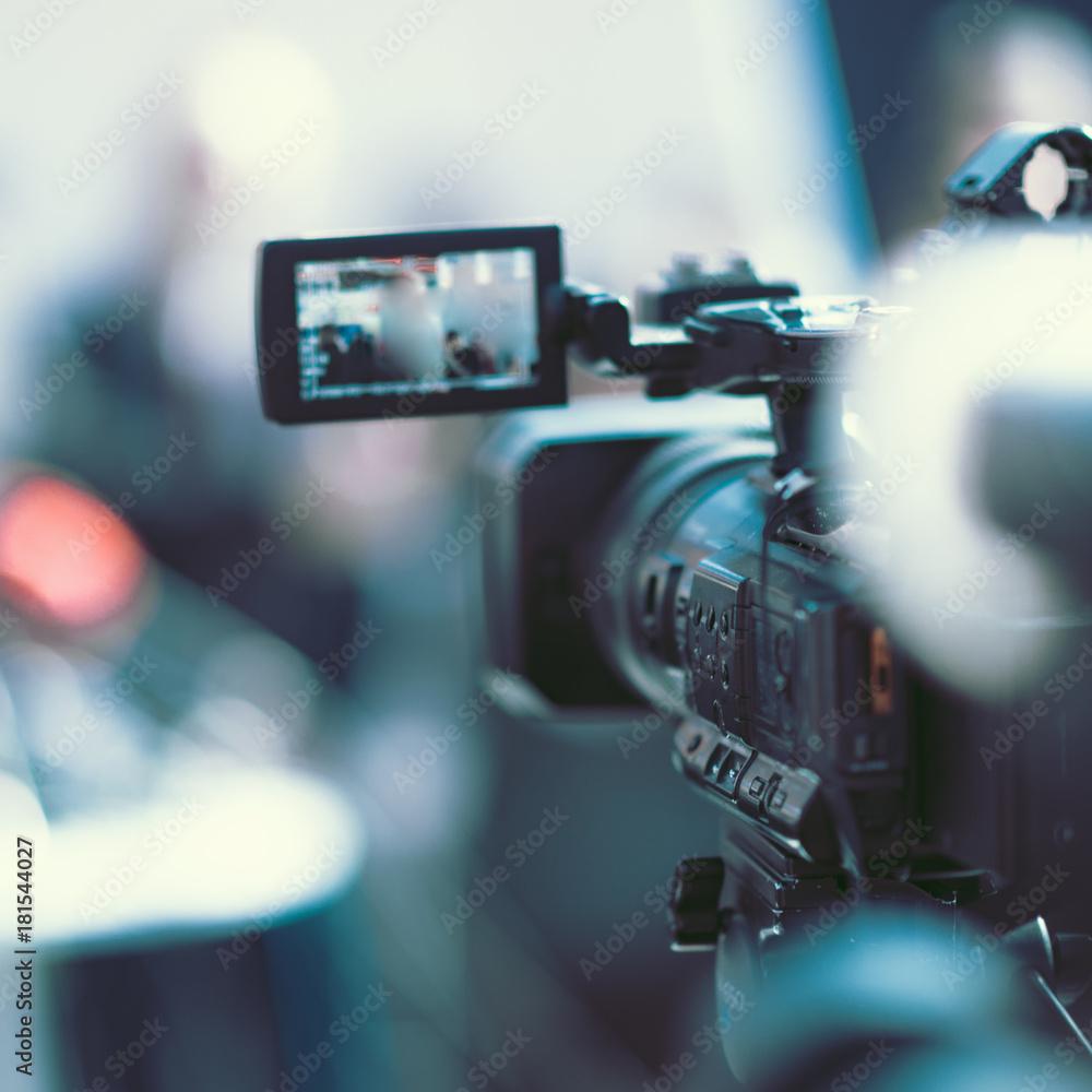 Fototapeta Camera at a media conference