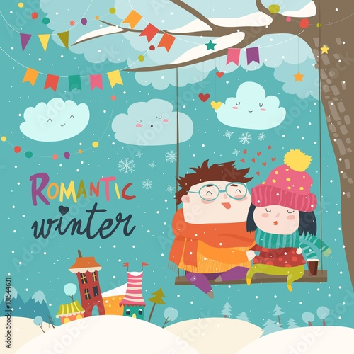 cute winter cartoon couple swinging