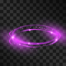 Purple Stormy Swirls Light Effect For Luxurious Products Or Brands. Neon Orbit For Beauty Goods, Modern Design, Hi-tech Gadgets, Fashion On Transparent Background. Magical Stardust Ring.