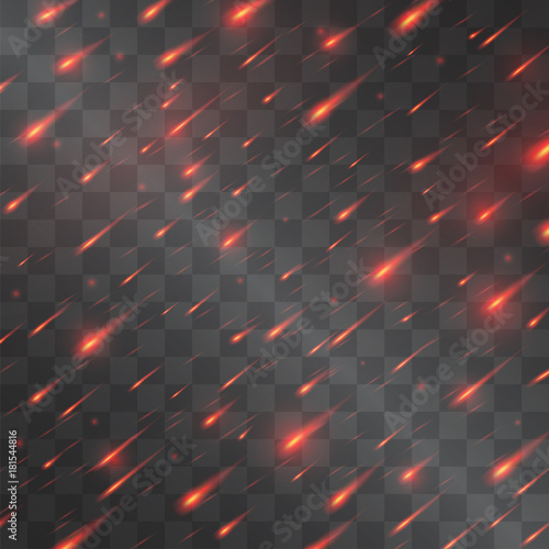 Meteorite shower, falling fire sparkles of volcano lava in the sky or armageddon red rain imitation vector light effect on transparent background Canvas Print