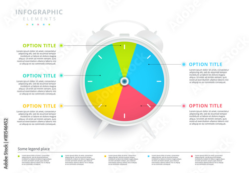 colorful pie chart clock infographic buy this stock template and