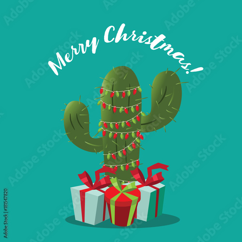 Photo  Merry Christmas design with cartoon cactus festooned with Christmas lights and surrounded by gifts