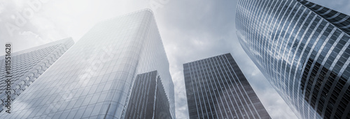 Modern skyscrapers in a business district, including copy space, banner size